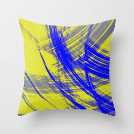 Intersecting fibers of light threads with canary energy of futuristic abstraction.  Throw Pillow
