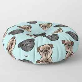 Black and Fawn Pug Faces Floor Pillow