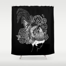 Rooster&Camellia Hat, White on Black Shower Curtain
