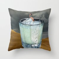 drink Throw Pillows featuring DRINK by Beth Hoeckel