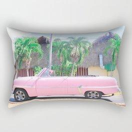 Pink Vintage Car in Havana Rectangular Pillow