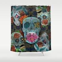 sugar skulls Shower Curtains featuring Sugar Skulls Art by Spooky Dooky