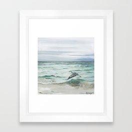 Anna Maria Island Florida Seascape with Heron Framed Art Print