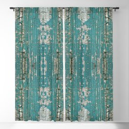 Rustic Wood Turquiose Paint Weathered Blackout Curtain