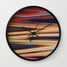 Abstract: Blue Red Beige Zigzag Wall Clock