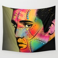 elvis presley Wall Tapestries featuring Elvis Presley by mark ashkenazi