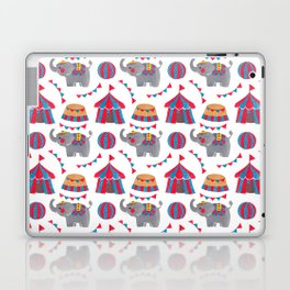 Colorful red blue gray watercolor elephant circus pattern Laptop & iPad Skin