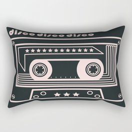 Black and White Disco Music Cassette Rectangular Pillow