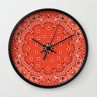 moschino Wall Clocks featuring red bandana by Marta Olga Klara