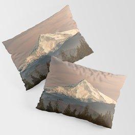 Mount Hood Vintage Sunset - Nature Landscape Photography Pillow Sham