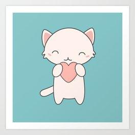 Kawaii Cute Cat With Hearts Art Print