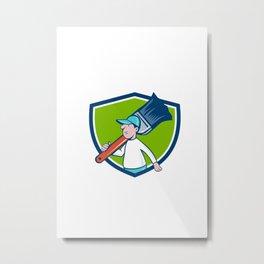 House Painter Paintbrush Walking Shield Cartoon Metal Print