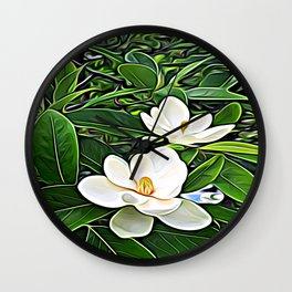 White Flowers of the Purest Essence Wall Clock