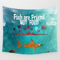 poker Wall Tapestries featuring Fish are friend not food poker by jbjart