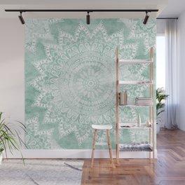 BOHEMIAN FLOWER MANDALA IN TEAL Wall Mural