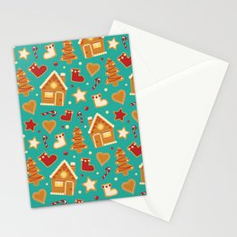 Christmas gingerbread house pattern vintage blue Stationery Cards