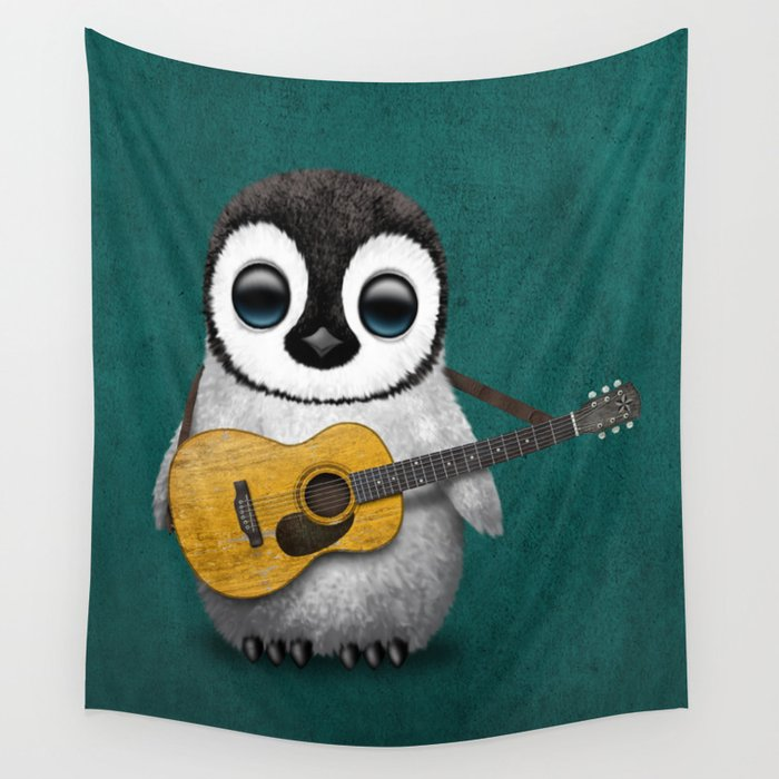 Musical Baby Penguin Playing Acoustic Guitar on Teal Blue Wall Tapestry by  jeffbartels