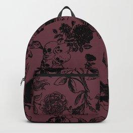 Demons N' Roses Toile in Goth Reddish Purple + Black Backpack
