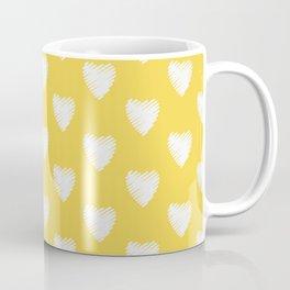 Corazones blancos sobre amarillo Coffee Mug