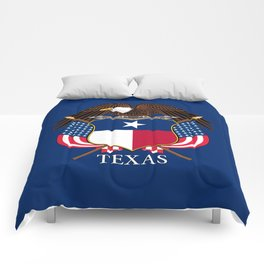 Texas flag and eagle crest concept Comforters