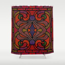 Art Nouveau Glowing Stained Glass Window Design Shower Curtain
