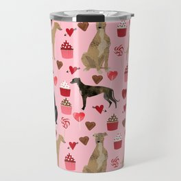 Greyhound valentines day cupcakes and hearts pet portrait custom dog person gifts greyhounds Travel Mug