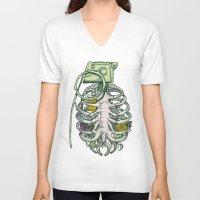garden V-neck T-shirts featuring Grenade Garden by Huebucket