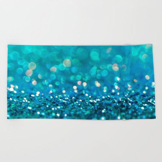 Aqua turquoise blue shiny glitter print effect- Sparkle Luxury Backdrop Beach Towel