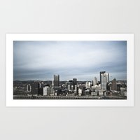 pittsburgh Art Prints featuring pittsburgh by ZacharyMcMannis