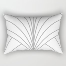 Round Series Floral Burst Grey on White Rectangular Pillow