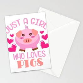 Muddy Pink Pig Farmer Oink Farm Barn Oink Mud Collection Just A Girl Who Love Pigs T-shirt Design Stationery Cards