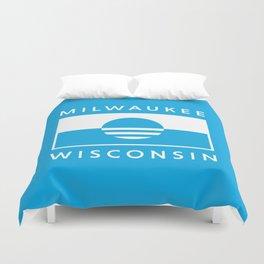 Milwaukee Wisconsin - Cyan - People's Flag of Milwaukee Duvet Cover