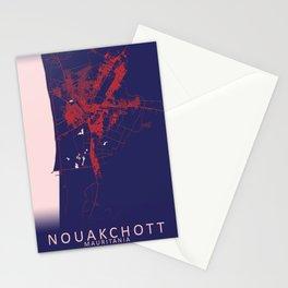 Nouakchott, Mauritania, Blue, White, City, Map Stationery Cards