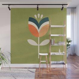 RETRO TULIP - ORANGE AND OLIVE GREEN Wall Mural