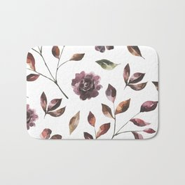 Abstract Shapes Autumn Flowers Bath Mat