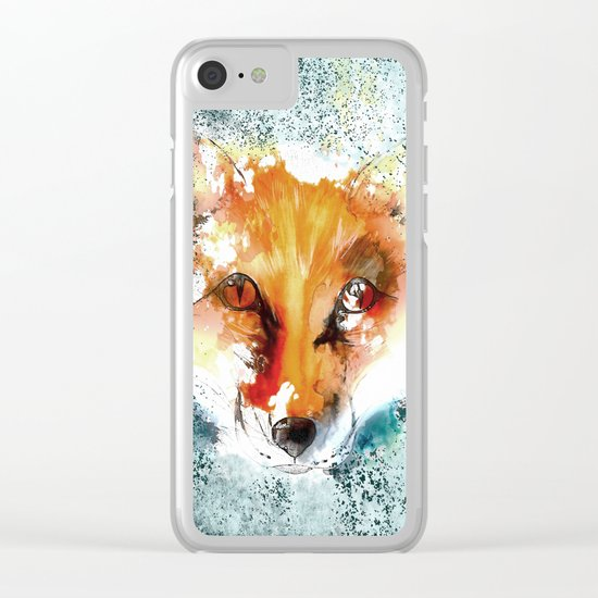 Wild wild Fox - Animal in the forest- watercolor illustration Clear iPhone Case