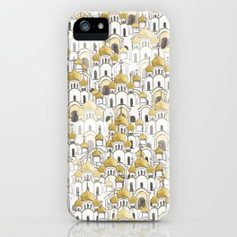 golden Russian cathedral church pattern iPhone Case