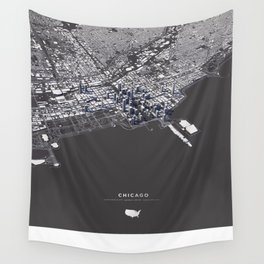 Chicago City Map I Wall Tapestry