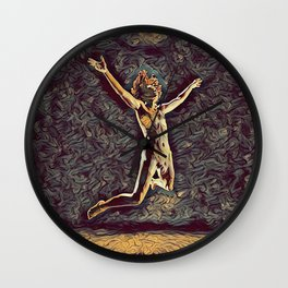 1294s-ZAC Dancer in Midair Leap Rendered in the Style of Antonio Bravo Wall Clock