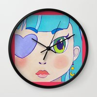 magical girl Wall Clocks featuring Magical Girl Pink border by Chanael Burat