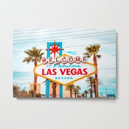 Classic view of Welcome to Fabulous Las Vegas sign on a beautiful sunny day with blue sky and clouds, Las Vegas, Nevada, USA Metal Print