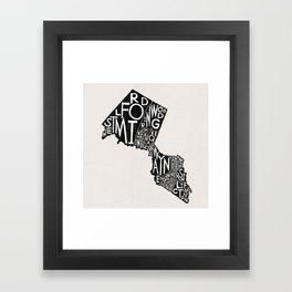 Passaic County, New Jersey Map Framed Art Print
