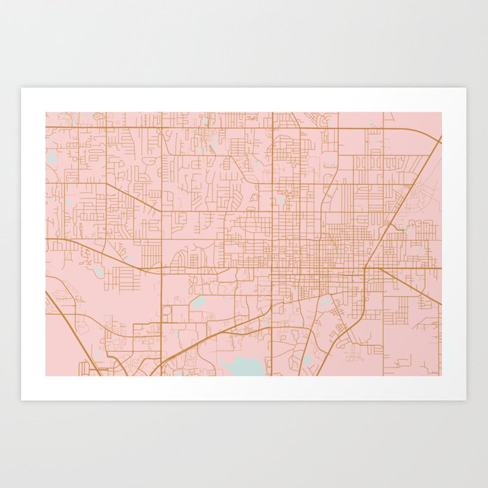 Gainesville Map, Florida Art Print By Annago