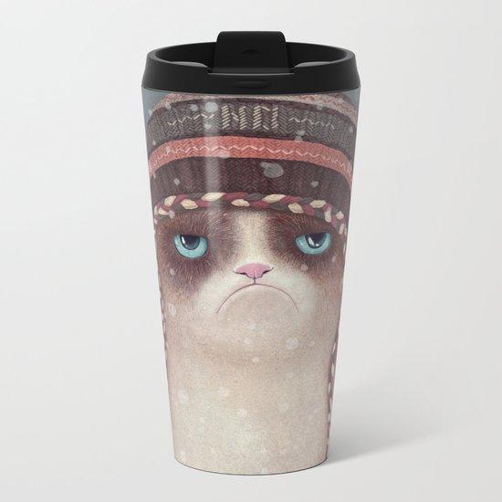 Christmas Cat Metal Travel Mug
