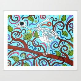 Bird Swirly Skeleton Art Print