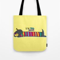 dachshund Tote Bags featuring Dachshund by PINT GRAPHICS