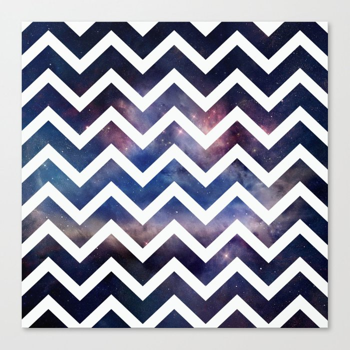 Galaxy White Chevron Canvas Print