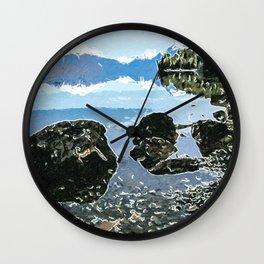 Rocks in the lake Wall Clock