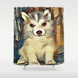 Siberian Husky Puppy Shower Curtain