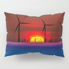 Sunset Wind Farms (Digital Art) Pillow Sham